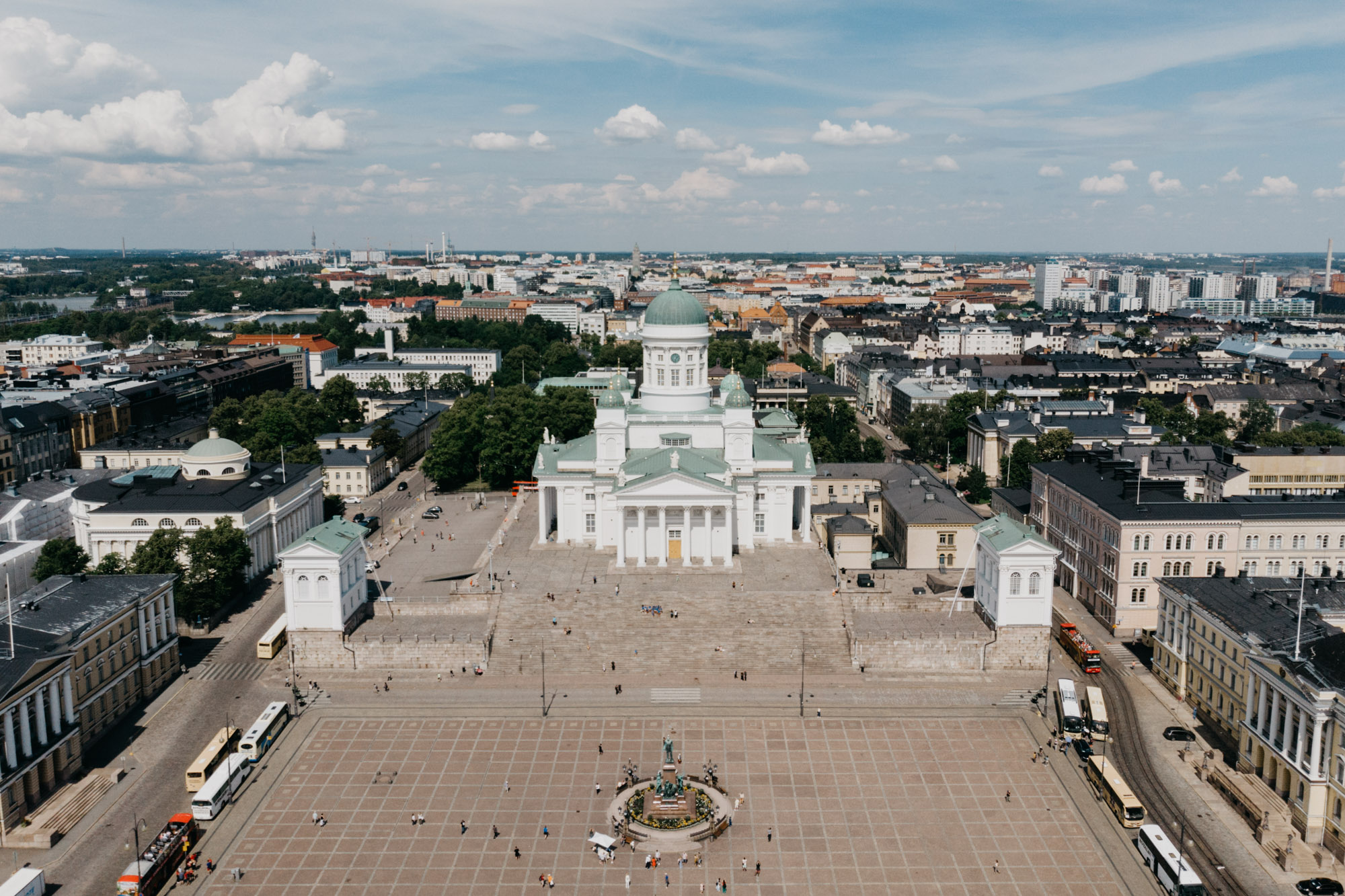 Aerial drone photo of main square and cathedral of helsinki
